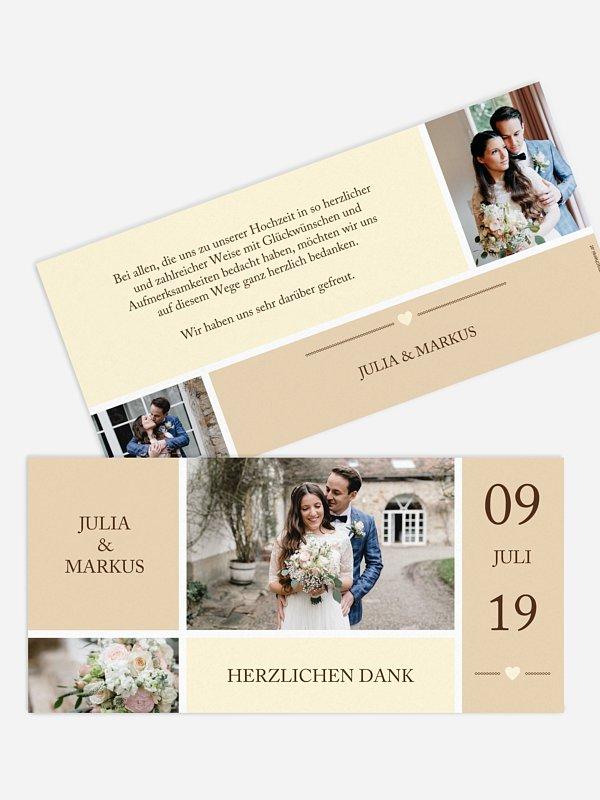 Dankeskarte Hochzeit Herzenszeit