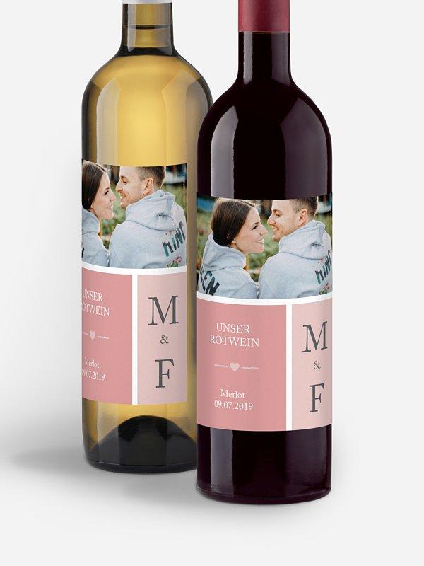 Flaschenetikett Hochzeit Herzenszeit