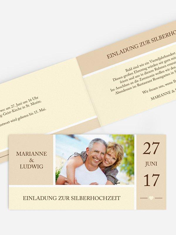 Einladung zur Silberhochzeit Herzenszeit
