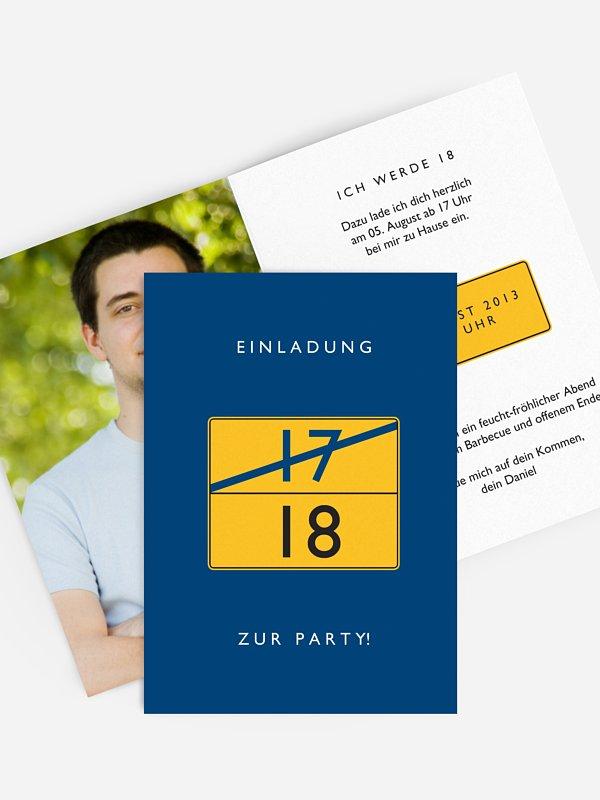 Einladung 18. Geburtstag Ortsschild
