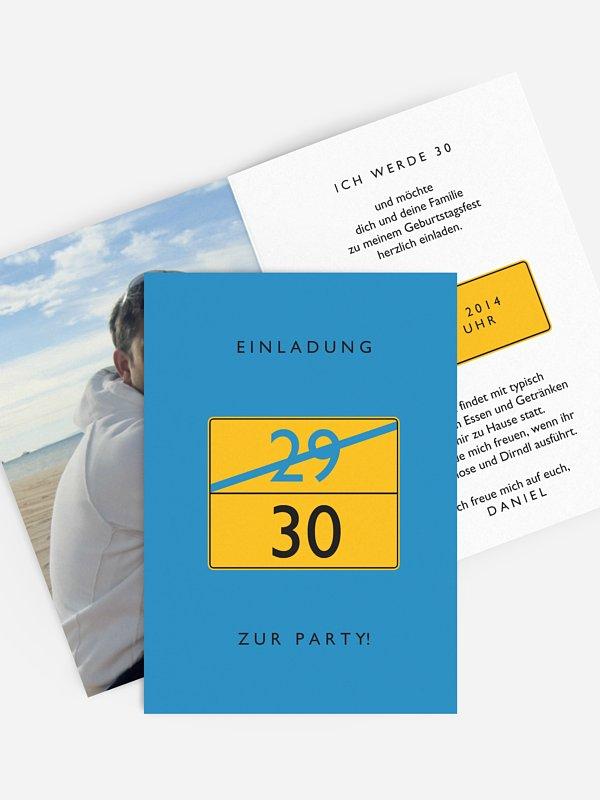 Einladung 30. Geburtstag Ortsschild