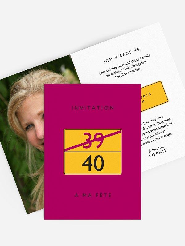 invitation anniversaire 40 Panneau