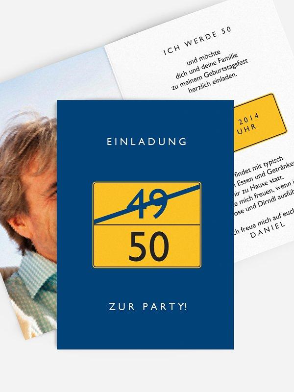 Einladung 50. Geburtstag Ortsschild
