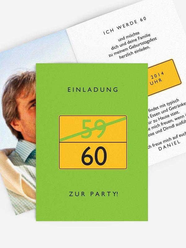 Einladung 60. Geburtstag Ortsschild
