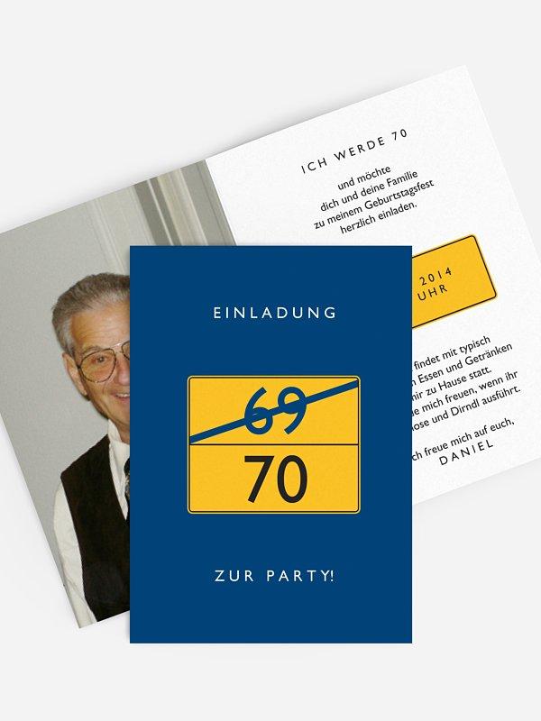 Einladung 70. Geburtstag Ortsschild
