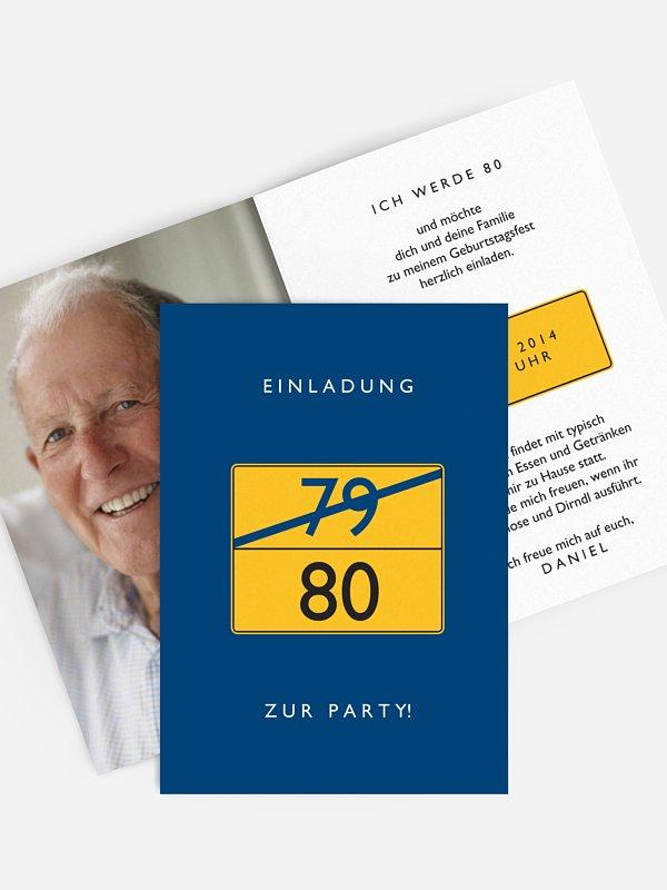 Einladung 80. Geburtstag Ortsschild