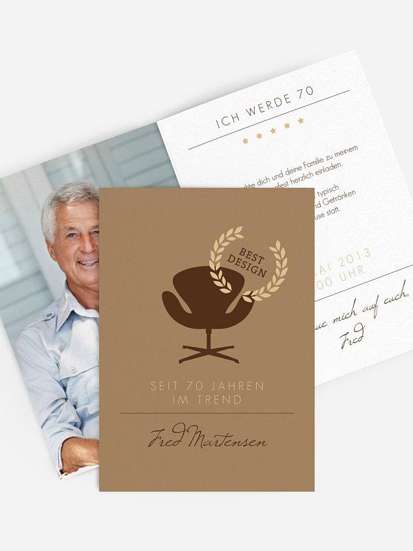 Einladung 70. Geburtstag Best Design