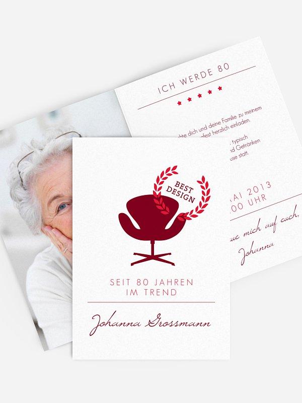 Einladung 80. Geburtstag Best Design