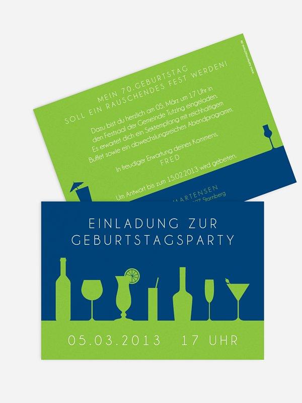 Einladung 70. Geburtstag Cocktailparty