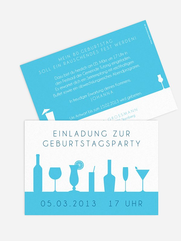 Einladung 80. Geburtstag Cocktailparty