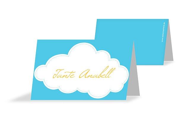 Tischkarte Taufe Wolkenhimmel