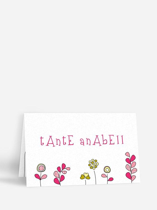Tischkarte Taufe Frühlingswiese