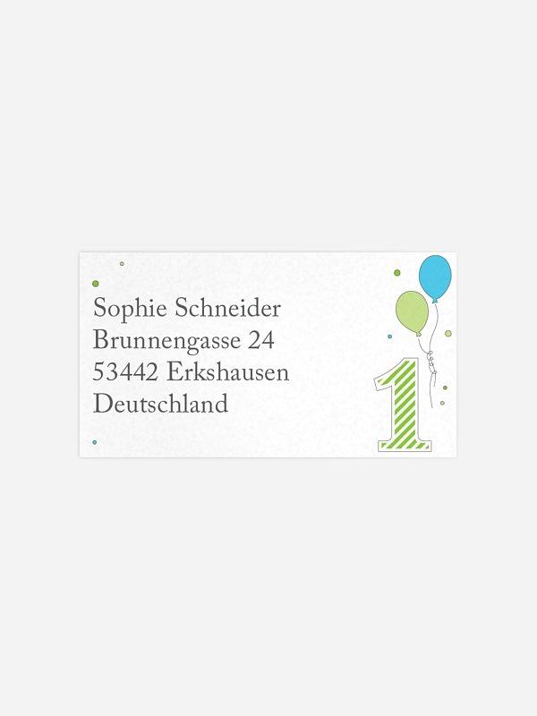 Empfängeraufkleber Geburtstag 1st Birthday