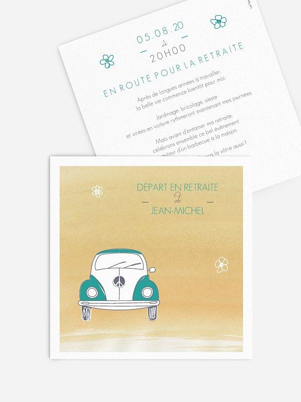 Carte invitation départ retraite Beatle