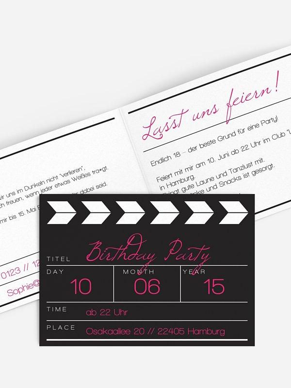 Einladung 18. Geburtstag Regieklappe