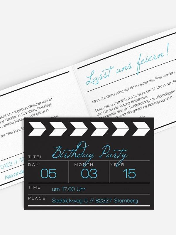Einladung 40. Geburtstag Regieklappe