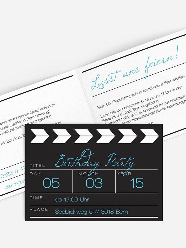 Einladung 50. Geburtstag Regieklappe