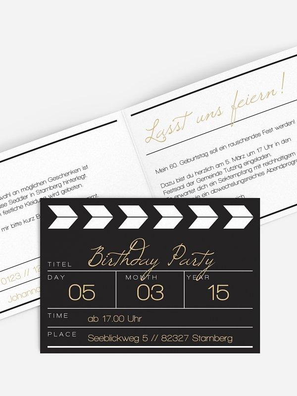 Einladung 60. Geburtstag Regieklappe