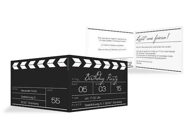 Geburtstagseinladung Regieklappe · Klartext
