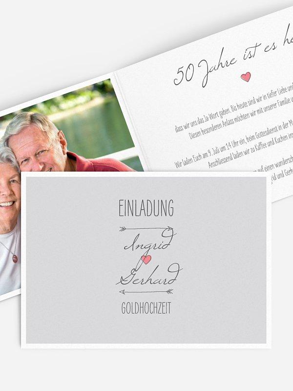 Einladung zur Goldenen Hochzeit Pfeil