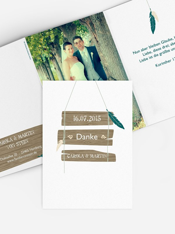 Dankeskarte Hochzeit Spirit