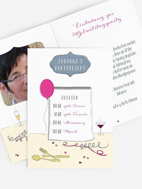 Einladung 50. Geburtstag Partyrezept