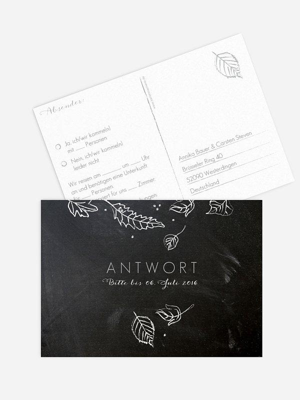 Antwortkarte Hochzeit Kreideblätter