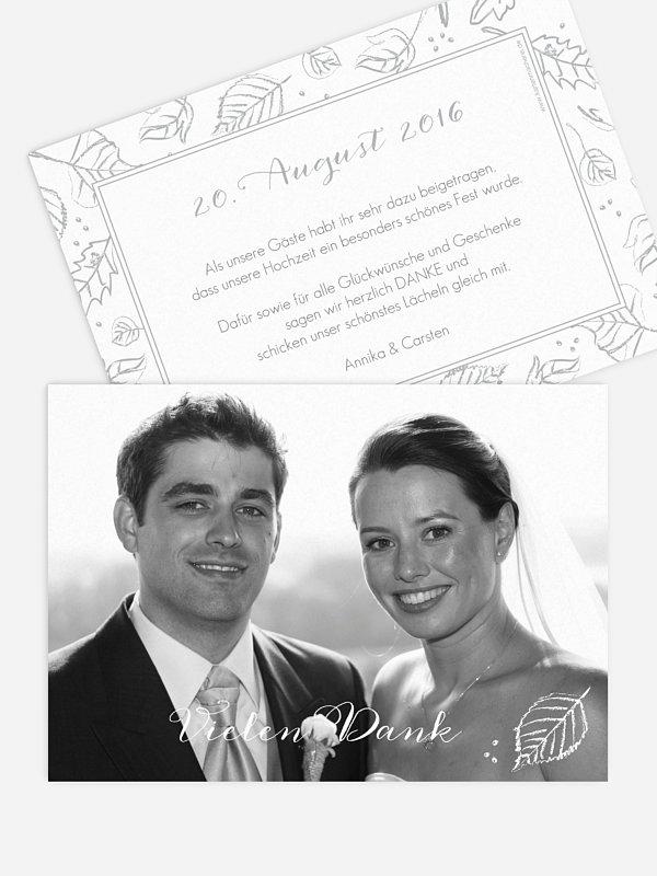 Dankeskarte Hochzeit Kreideblätter