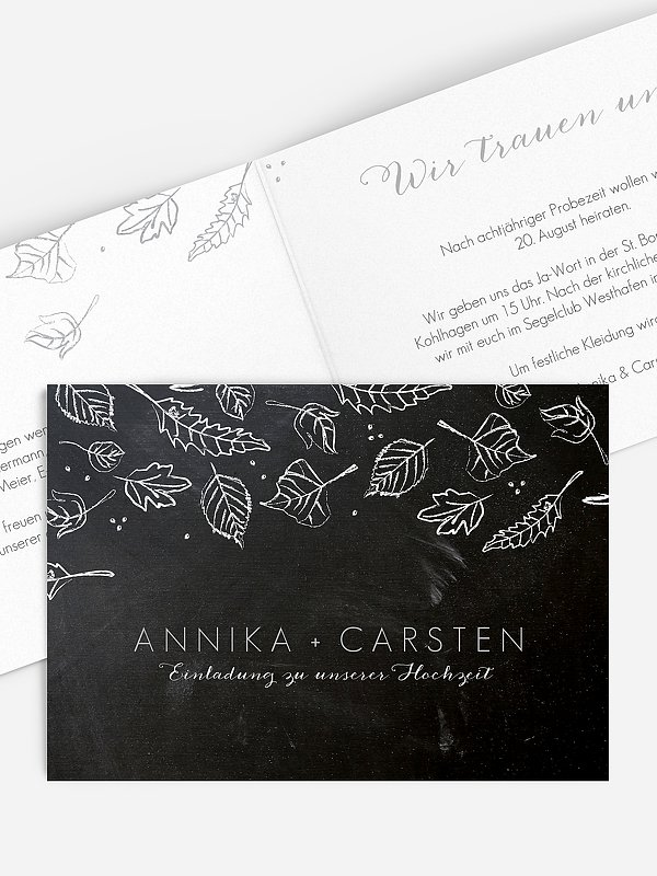 Hochzeitseinladung Kreideblätter