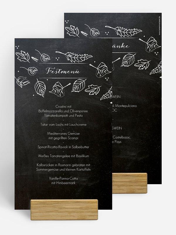 Menükarte Hochzeit Kreideblätter