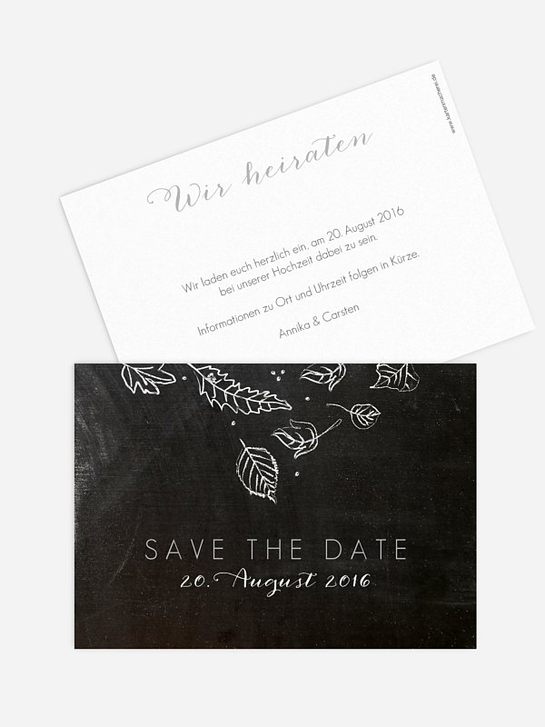 Save-the-Date Karte Kreideblätter