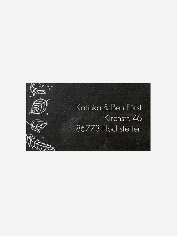 Empfängeraufkleber Hochzeit Kreideblätter