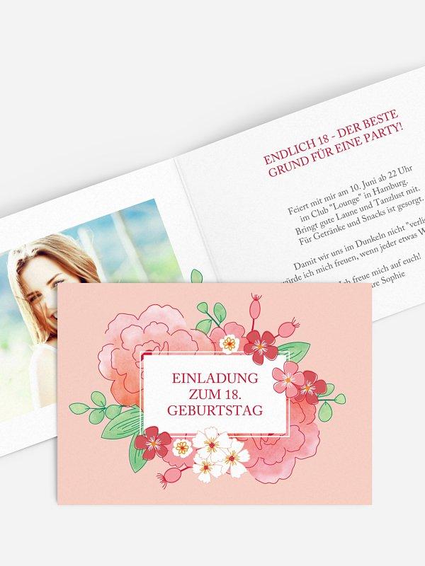Einladung 18. Geburtstag Blütenpracht