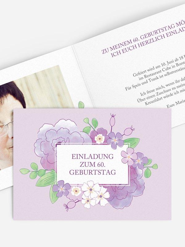 Einladung 60. Geburtstag Blütenpracht