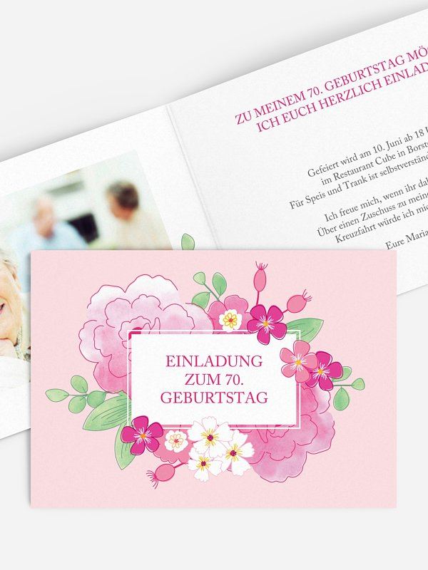 Einladung 70. Geburtstag Blütenpracht