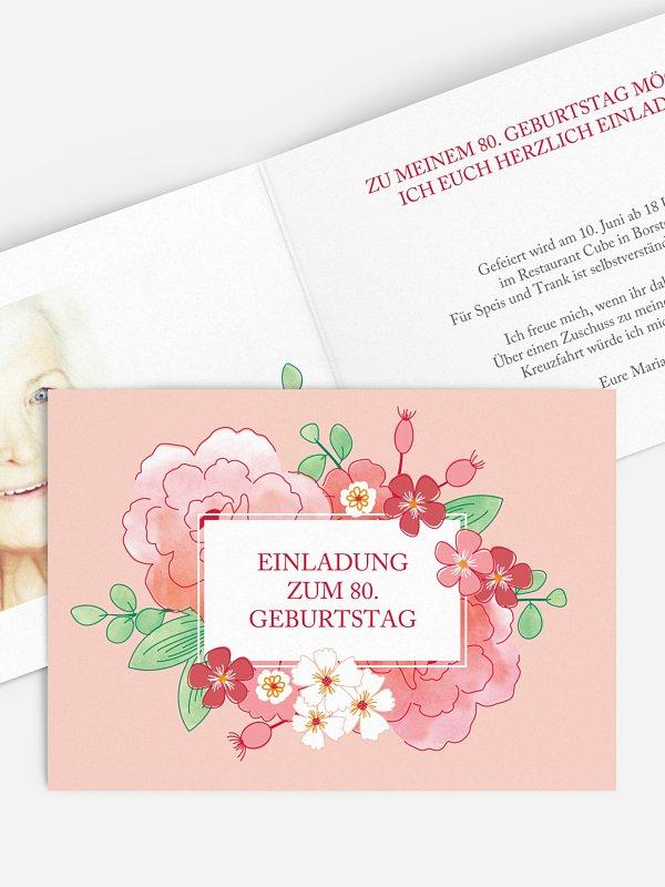 Einladung 80. Geburtstag Blütenpracht