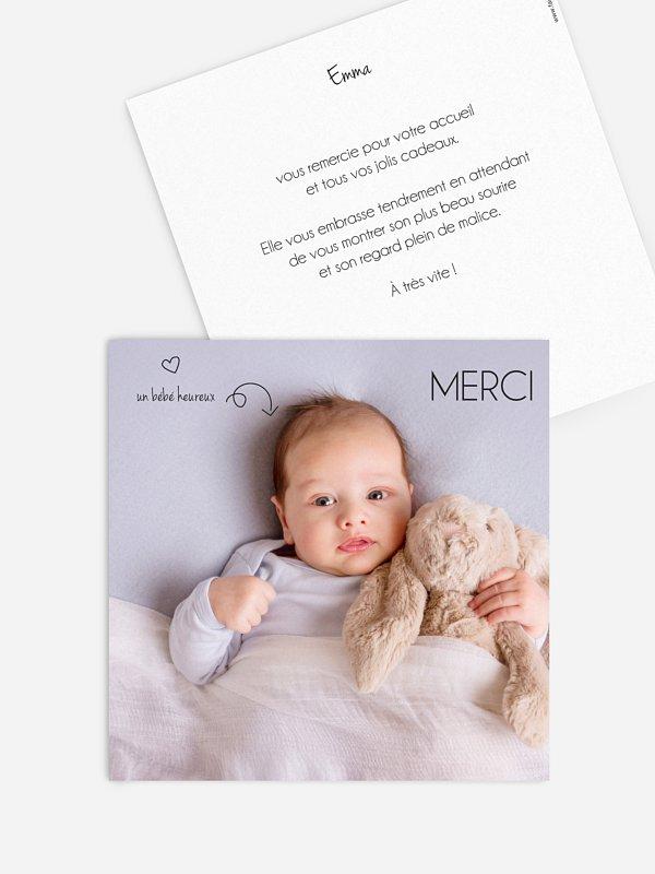 Carte remerciement naissance Petits pictos