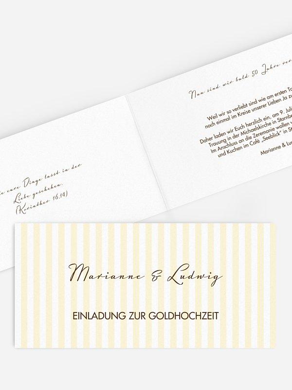 Einladung zur Goldenen Hochzeit Gestreift