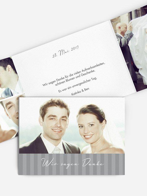 Dankeskarte Hochzeit Gestreift