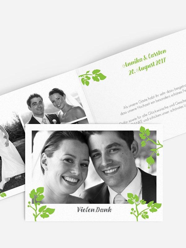 Dankeskarte Hochzeit Blattzart