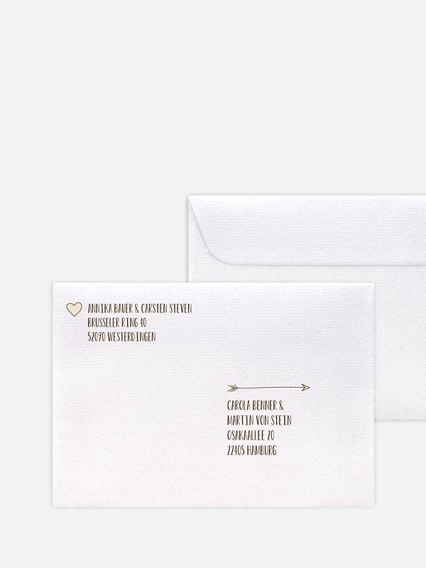 Bedruckter Briefumschlag Hochzeit Pfeil für Kraftpapier