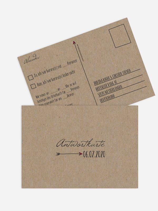 Antwortkarte Hochzeit Pfeil Kraftpapier