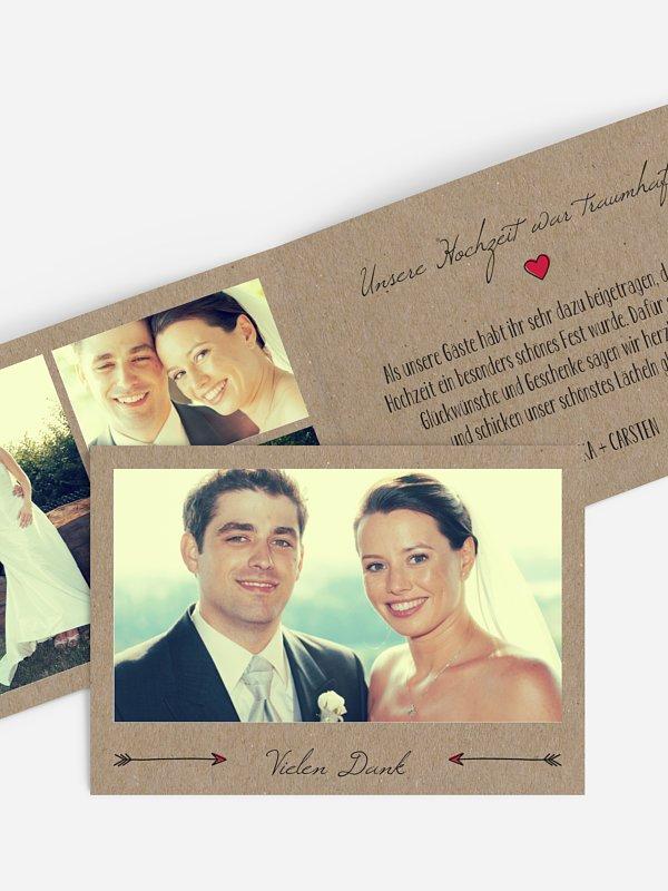 Dankeskarte Hochzeit Pfeil Kraftpapier