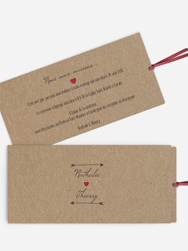 Faire-part mariage Flèche papier kraft
