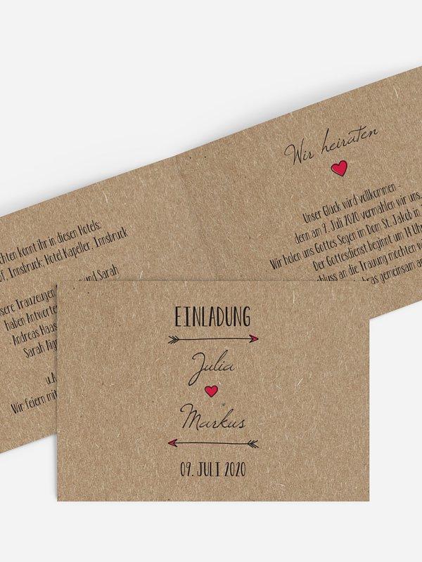 Hochzeitseinladung Pfeil Kraftpapier