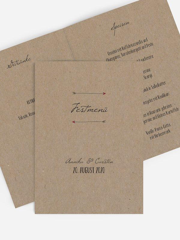 Menükarte Hochzeit Pfeil Kraftpapier