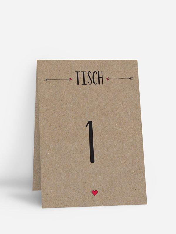 Tischnummer Pfeil Kraftpapier
