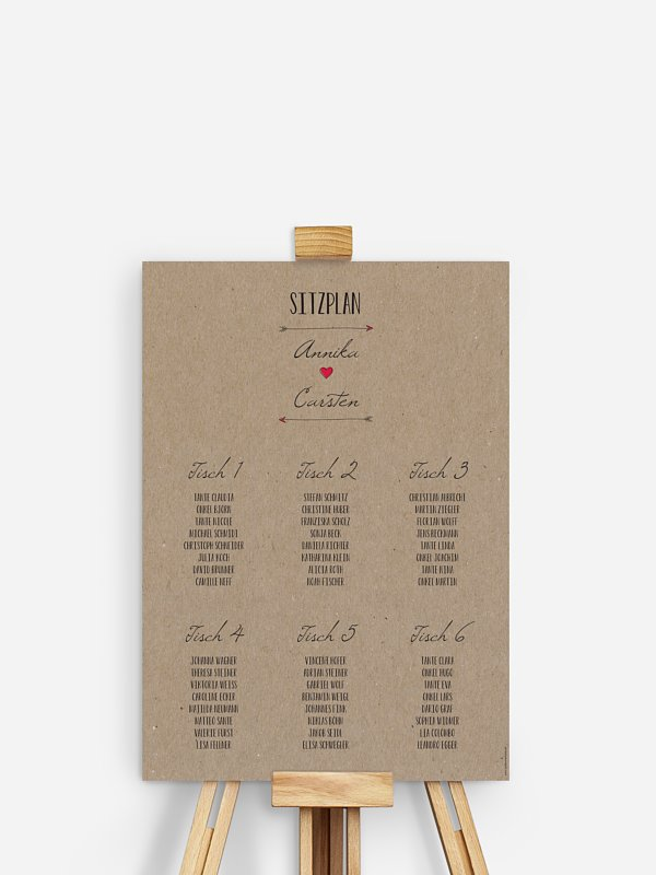 Sitzplan Plakat Pfeil Kraftpapier