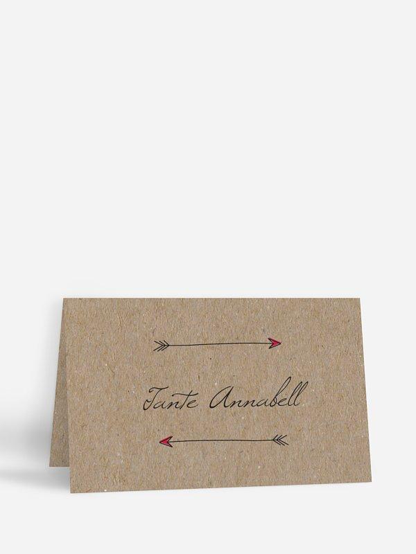Tischkarte Hochzeit Pfeil Kraftpapier