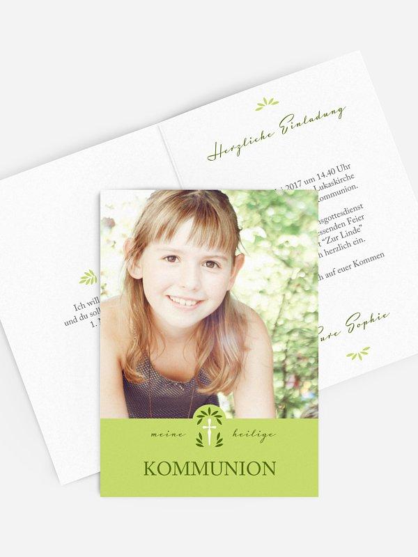 Kommunionseinladung Blätterkreuz